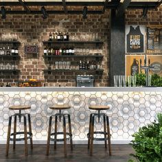 The essential criterion of bar counter is bar stools. The bar stools are the very important factor w Coffee Shop Design, Cafe Design, Bar Counter Design, Cafe Bar Counter, Coffee Counter, Modern Home Bar, Home Bar Designs, 3d Modelle, Café Bar
