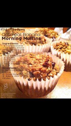 Oatmeal Banana Muffins from bodyrock.tv Recipe makes a dozen muffins Approx. 187 calories each Healthy Deserts, Healthy Treats, Healthy Food, Healthy Eating, Healthy Recepies, Banana Oatmeal Muffins, Baked Oatmeal, Oatmeal Recipes, Skinny Recipes