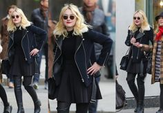 Dakota Fanning Out & About Fall style: red lips, disheveled short hair, sunglasses, all black, black jacket and knee hight boots
