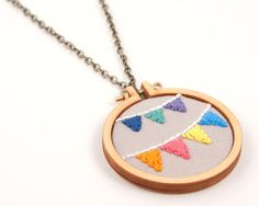 Bunting embroidered necklace - mini embroidery hoop - navy, spearmint, purple, orange, pink, yellow, blue - made with love by dandelyne