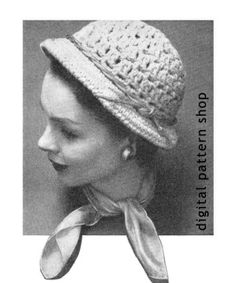 1950s Vintage Womens Brimmed Hat Crochet Pattern Instant Download