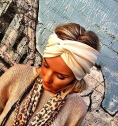 Cream Women's Knit Headband  Stretch Jersey Knit by ThreeBirdNest, $26.50
