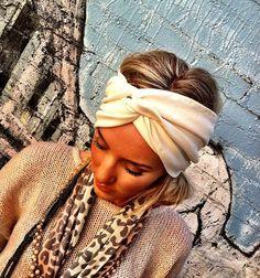 Cream Women's Knit Headband  Stretch Jersey Knit by ThreeBirdNest, $26.50