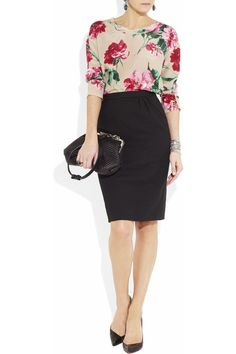 Floral blouse, black pencil skirt