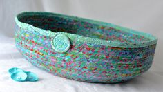 Unique Cat Bed, Handmade by me. I just love this colorful batik and made this lovely Coiled Fabric Basket.  So many uses!!!  Pet bed, cat bed, magazine holder, shoe bin, and more!   by WexfordTreasures