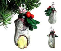 Give your Holiday tree some 'ol time zombie cheer with this rotten zombie toe Christmas ornament. These unique hand painted zombie toes are perfect for hanging on your slowly dying Christmas tree, and also make a great replacement for your lucky rabbit's toe. Buy It $9.95 via Neatoshop.com