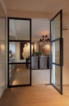 Metal glass door