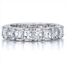 Platinum Asscher-cut diamond band with engraved sides by Penny Preville