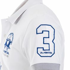 Stylish short-sleeved polo shirt with 2-button placket in stretch cotton pique, replica of the team uniform worn by the Maserati team during the Maserati Polo Tour 2016. The Maserati Polo Tour writing stands out on the front, alongside the La Martina logo