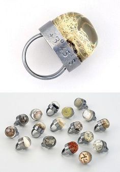 Journal Rings by Tom Ferrero (showcasing bits of the landscape in resinengraved with the source coordinates). highlighted image: New ZealandJournal Ring Silver resin lichen from Mt. Aoraki