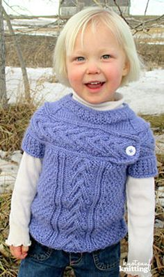 Knitting Pattern - Little Miss Myra's sweater is a seamless knitting pattern that every little girl will love!  Click through for the pattern!