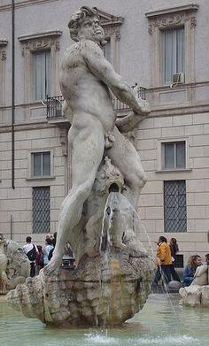 Fontana del Moro, Piazza Navona, Roma, Italia [Moor Fountain, Rome, Italy]