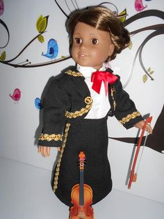 Mariachi charra suit traje black gabardine gold trim fits 18 in like American Girl doll Folklorico Dresses, Mariachi Suit, Boy Doll, American Girl, Dress Up, Bows, Suits, Fitness, Etsy