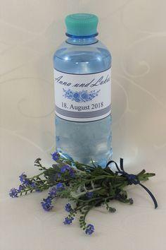 """Wasserflasche mit Etikett """"Fleur"""" - Wasserflasche mit Etikett Water Bottle, Drinks, Water Flask, Flasks, Drinking, Drink, Cocktails"""