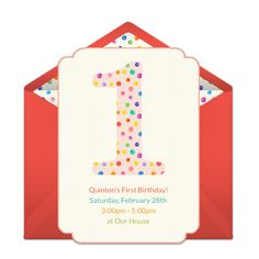 Customizable, free 1st Birthday Dots online invitations. Easy to personalize and send for a 1st birthday party. #punchbowl