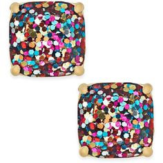 kate spade new york Gold-Tone Small Square Glitter Stud Earrings ($38) ❤ liked on Polyvore featuring jewelry, earrings, accessories, multi glitter, kate spade, sparkle jewelry, stud earrings, mixed metal earrings and mixed metal jewelry