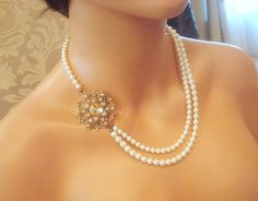 Vintage style necklace, bridal pearl necklace, wedding jewelry, antique brass with golden shadow crystals. $95.00, via Etsy.