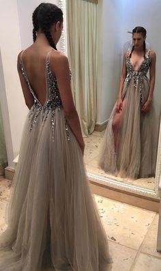 Sexy Prom Dresses with Split,Deep V-neck Long Prom Dresses,Pageant Dresses,Formal Dresses,Prom Dresses 2018,#sheergirl #prom #pageant