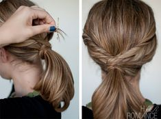woven ponytail tutorial- works if you have layers in your hair (as long as they reach your ponytail). If you don't have a lot of hair, a ponytail extension, like the models were wearing, will give you a fuller ponytail.
