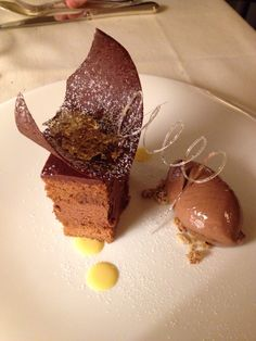 Chocolate cake with hazelnut ice cream and passion fruit jelly!!! Awesome!!