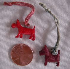2 Scottie Dogs Celluloid Cracker Jack Charms by MDHcrafts on Etsy