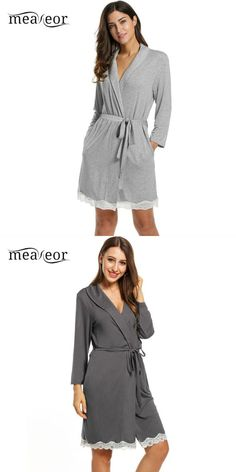 582e9c258a Meaneor slim women sleepwear with belt turn down neck tunic lace nightwear  nature color robe nightgown
