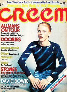 item details: Entire Issuekeywords: David Bowie, Elton John, Allman, Doobie Brothers, Frank Sinatra, Bob Dylan, Outlaw, Tubes, Rolling StonesCreem (which is always capitalized in print as CREEM despit