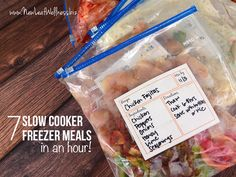Seven slow cooker freezer meals in an hour - Spicy Dr. Pepper shredded pork / Chicken Pot pie with tater tots / beef roast and carrots / chicken fajitas Budget Freezer Meals, Slow Cooker Freezer Meals, Make Ahead Freezer Meals, Crock Pot Freezer, Dump Meals, Slow Cooker Recipes, Crockpot Recipes, Freezer Recipes, Bulk Cooking