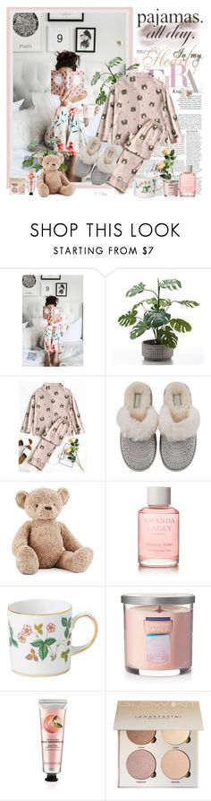 """Pajamas All Day!"" by croatia ❤ liked on Polyvore featuring Anja, UGG, Jellycat, Amanda Lacey, Wedgwood, Yankee Candle, The Body Shop, sleepwear, girl and pajamas"