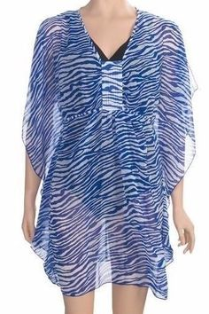 3ad44dce86 Type: Bathing suit cover up. Beautiful Blue and White animal print swimsuit  cover up