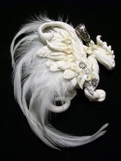 White polymer clay dragon pendant with beads by HurleyGirlydesigns, $40.00