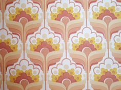 Super Cute Pink Vintage Wallpaper - Yellow Flower Retro Pattern 1970s Europe - One Yard. $4.80, via Etsy.