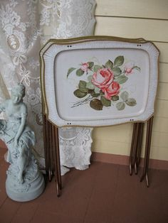 Vintage TV Trays Cabbage Rose Pattern Shabby Chic by Fannypippin,