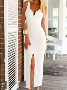 White Sweetheart Backless Split Front Maxi Dress | Choies