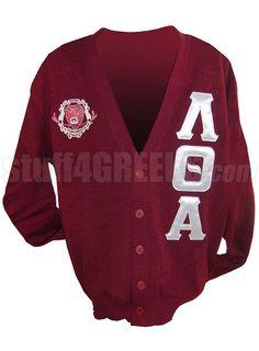 Lambda Theta Alpha Greek Letter Cardigan with Crest, Crimson  Item Id: PRE-CSR-LQA-CREST_LTR_CMN  Price:  $129.00