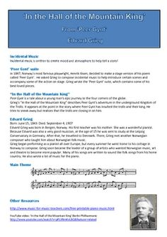 'In the Hall of the Mountain King' Listening worksheets