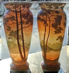 2 Legras Vases Signed Cameo Glass Woods Lake Scene | eBay