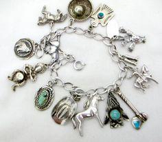 Vintage STERLING CHARM BRACELET Sterling Silver Cowboys & Indians Theme Charm Bracelet