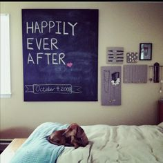 Diy Chalkboard canvas in our bedroom - great for reminding us of what's important in life