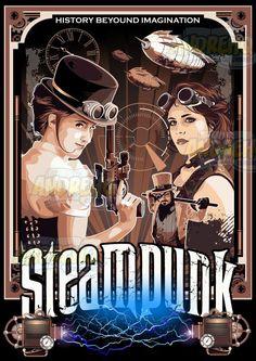 Poster Steampunk by AndreHQ #poster #steampunk #steampunkart #fanart #vector #vetor #artevetorial #vectorart #steampunkstyle #vintageart #vintage #retro #illustration #design #starship #dirigivel