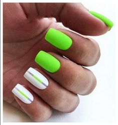 If you want everyone to envy your nails, you're going to LOVE the green nail polish designs we've found. Prepare to fall in love with these green nails inspo! Nails Yellow, Neon Green Nails, Green Nail Polish, Bright Nails, Neon Nails, Pink Nails, My Nails, Neon Nail Art, Bright Colored Nails
