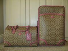 Coach Luggage Travel Set | Coach Signature Roseberry Peyton Travel Bag Duffle Suitcase Wheelie ...