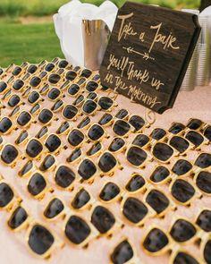 Gold sunglasses wedding favor