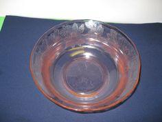 Berry Bowl Macbeth Evans Glass Dogwood Pink Made in USA Vintage by hazeleyesartglassetc on Etsy $38.00