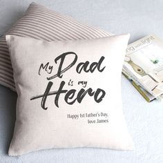 Diy Father's Day Crafts, Father's Day Diy, Fathers Day Crafts, Dad Poems, My Dad My Hero, Personalised Cushions, Linen Fabric, Gifts For Him, Best Gifts