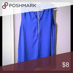 Sleeveless blue blouse with lace back Zipper front and lace back makes the top unique and perfect for summer -worn once Metaphor Tops Blouses