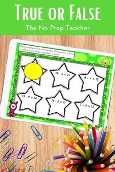 Your first grade students need lots of practice deciding if an addition or subtraction problem is true or false. These solve the room, math centers, and worksheets will make this skill simple for your kids. Both printable and digital activities are included. Use manipulatives to support this math skill during guided math or in small groups. Perfect for elementary math teachers or tutors working on this common core standard, 1.0A.D.7.