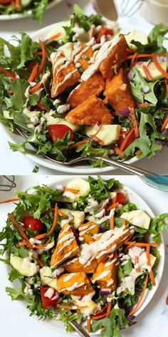 These Buffalo Tempeh Salad Bowls are the ultimate meal for a healthy lunch or dinner recipe! They're full of flavor, packed with protein and full of veggies. Easy to make, great for meal prep, and vegan too! Salad Recipes Video, Healthy Salad Recipes, Veggie Recipes, Whole Food Recipes, Vegetarian Recipes, Cucumber Recipes, Vegan Meals, Vegan Meal Plans, Healthy Meal Prep