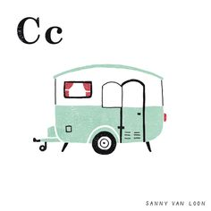 'C' is for Camper - An illustrated 'A to Z Gift Guide' for Country Living Magazine USA - By Sanny van Loon • Illustration