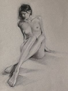 Nude figure drawing fine art print from original charcoal drawing by Vernon Grant 11 x 14